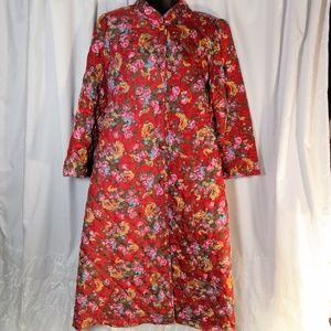 Miss Elaine Large Quilted Red Floral Bathrobe